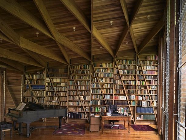 Home Library With Grand Piano Books And Libraries