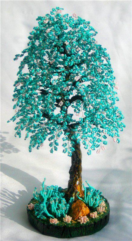 Www как делать деревья и цветы из бисера