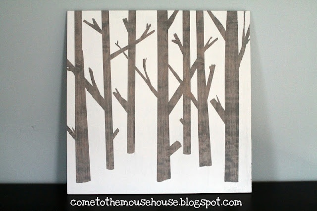 A DIY tree painting for the family room wall where I need a large piece.