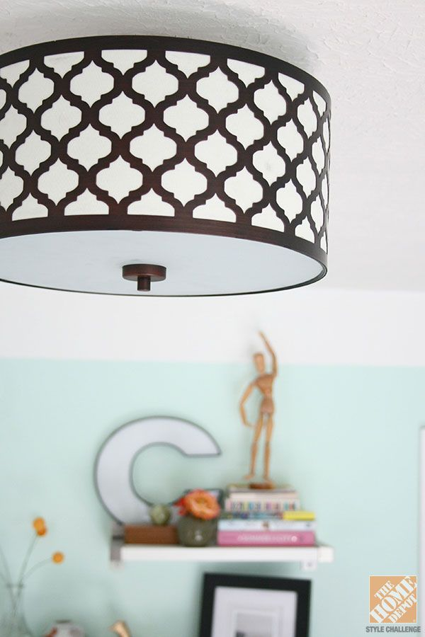 ... Ceiling Light Fixture mounted in a bright and cheery home office
