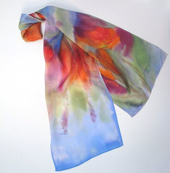 used beats for sale HandPainted Silk Scarf Impressionist Flowers One of a Kind