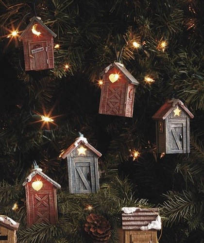 Rustic Indoor String Lights : Rustic Cabin Lodge Outhouse String of Lights Indoor or Outdoor Decor