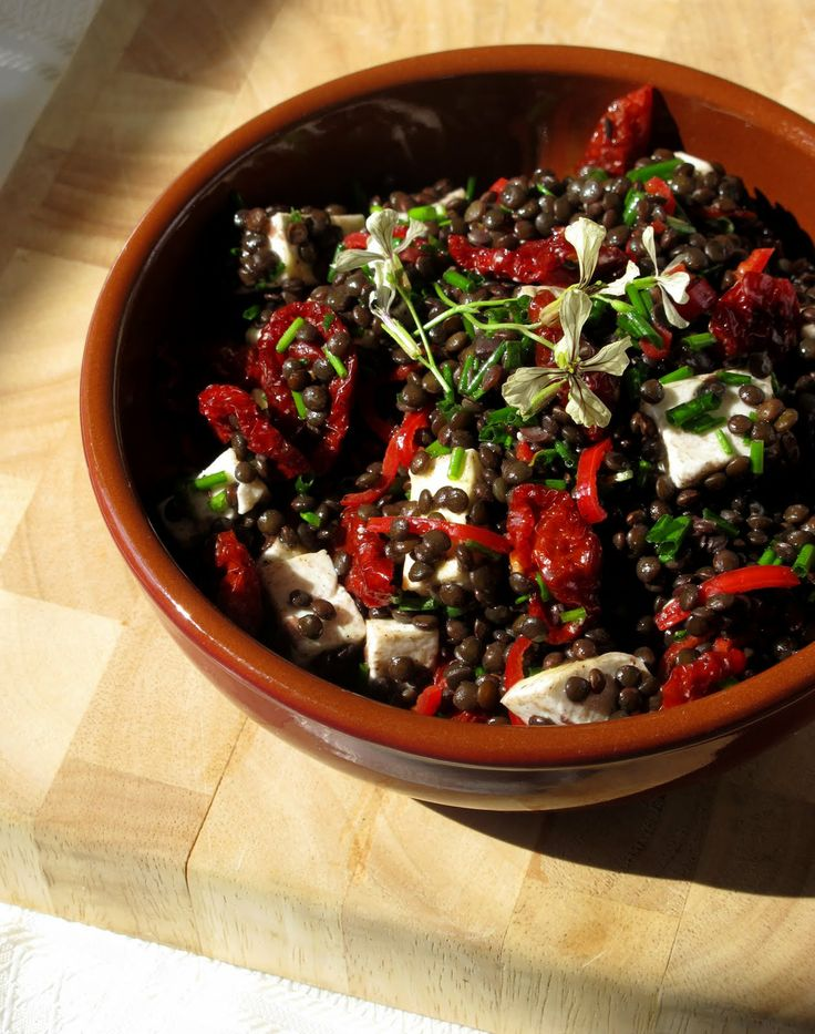 Warm goat cheese and lentil salad, with sun-dried tomatoes. This will ...
