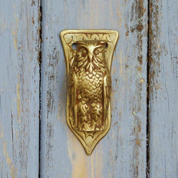 Antique barn owl dog door knocker edwardian brass - Antique brass door knocker ...