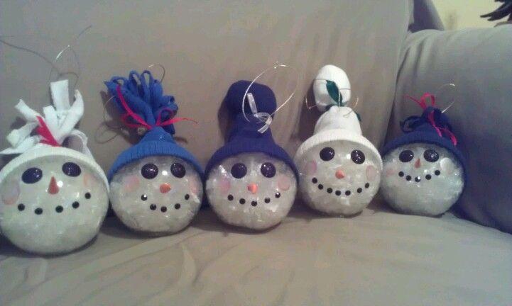 Snowman ornaments. Baby sock hat. | Crafty | Pinterest