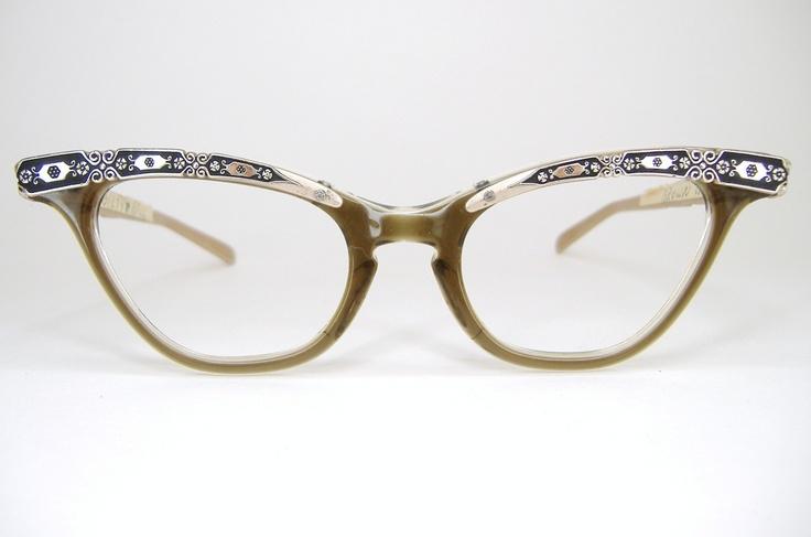 Unique Cat Eye Glasses Frame Vintage : Vintage 1950s 1960s Liberty Cat Eye Eyeglasses Unique Design