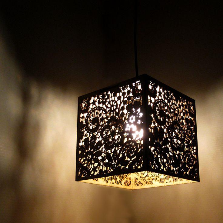 Wood Lace Pendant Light Hanging Lamp Laser Cut Floral
