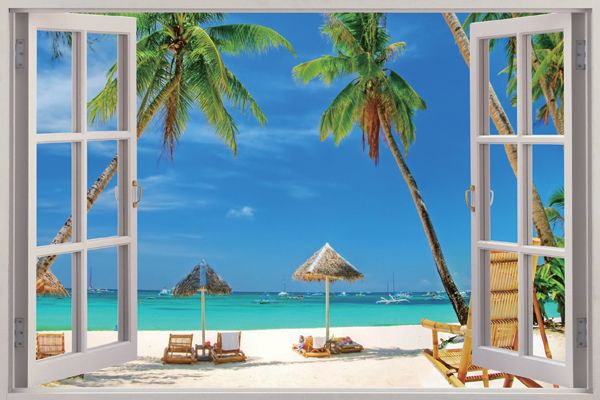 Palm beach 3d window view removable wall art sticker vinyl for Beach window mural