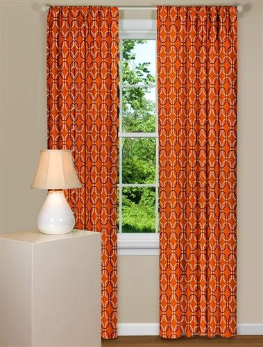 Orange curtains with geometric design new house updating ideas pi