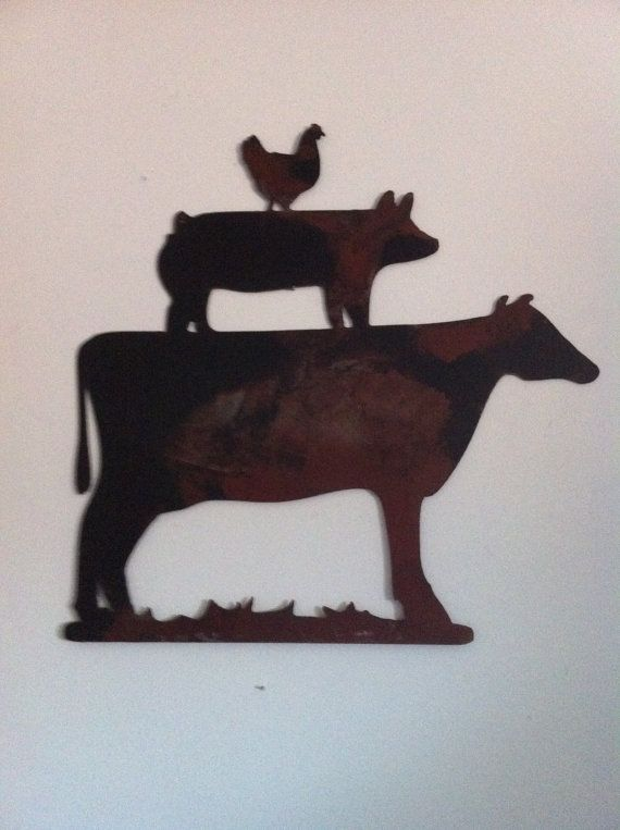 Metal Wall Decor Animals : Kitchen decor metal farm animals chicken pig cow