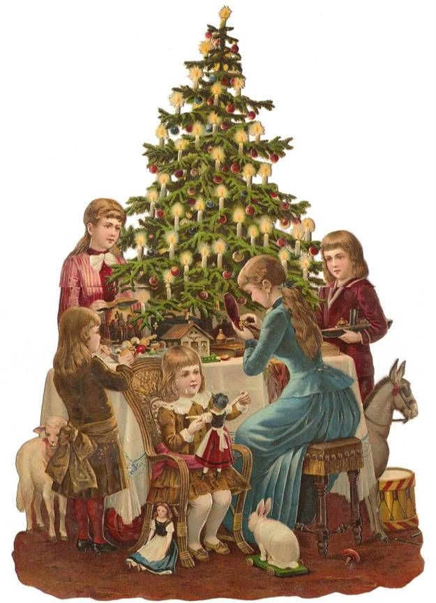 Victorian Die CUt Christmas Tree Children Toys Girls Scrap Antique Decoration 1880s
