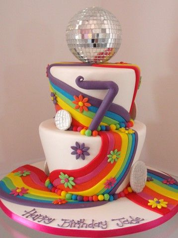 This cake is too Disco! How great to have a retro themed party!  #Rainbow #Cake