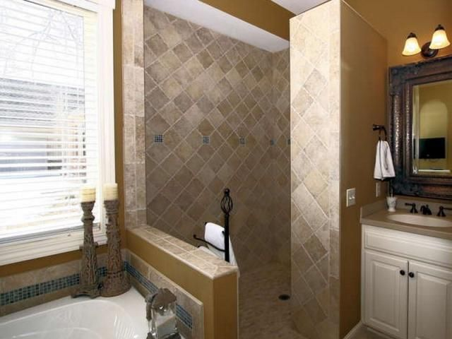 idea for walk in shower with jacuzzi tub for the home