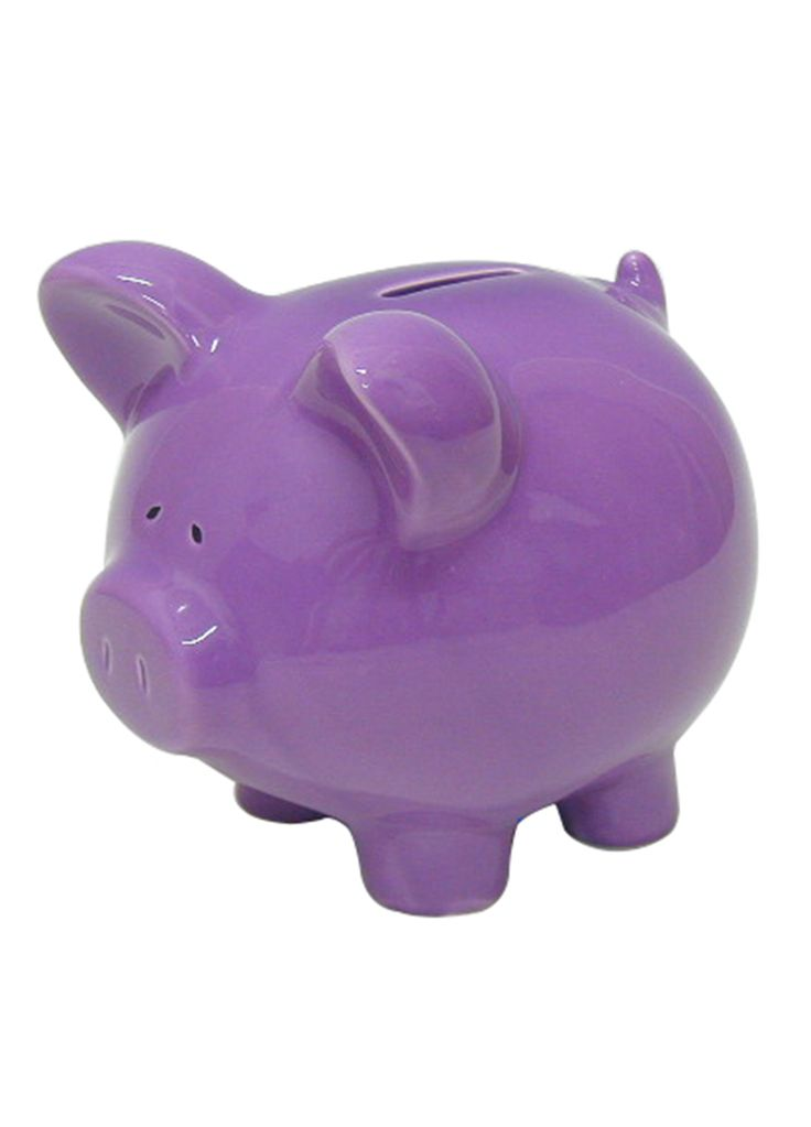 Abode purple piggy bank home kids room pinterest for Piggy bank for toddlers