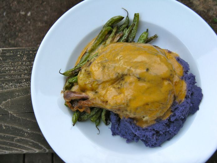 Slow cooker roast chicken and gravy with mashed purple cauliflower and ...