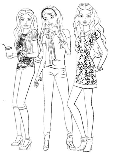 barbie and friends coloring pages kids coloring pages pinterest