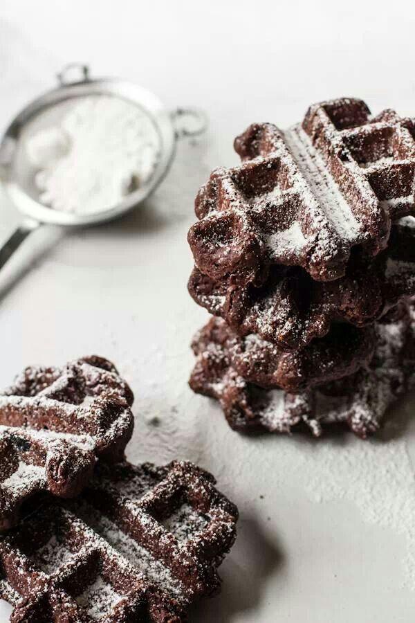 Cocoa waffle | foods | Pinterest