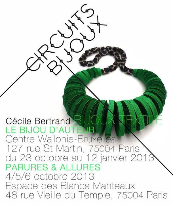 """Cecile Bertrand bijoux textiles - Centre Wallonie Bruxelles """"Bijou d'Auteur"""""""