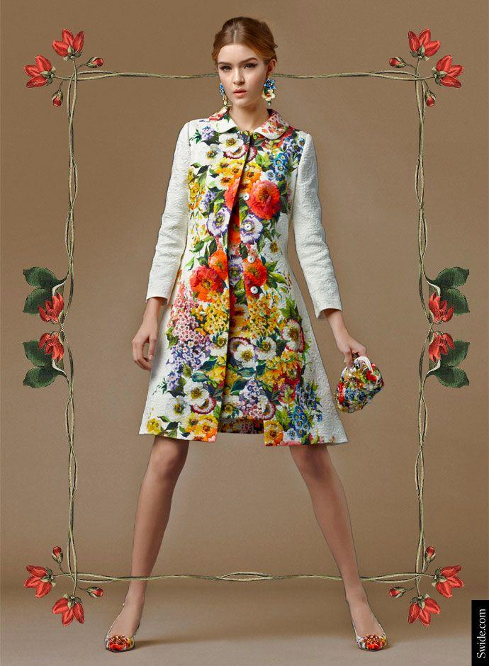 Посмотрите Дня Dolce & Gabbana осень 2014 Преколлекция женской одежды: цветочный принт Brocade Matching пальто и платье