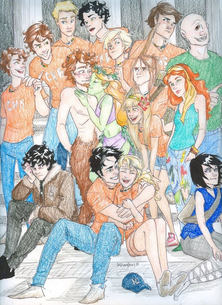 The whole Percy Jackson cast!  bottom row, left to right: Nico di Angelo, Percy Jackson, Annabeth Chase, Thalia Grace  second row up: Connor Stoll, Grover, Juniper, Katie Gardner, Clarisse, Rachel Dare  third row: Travis Stoll, Michael Yew, Tyson  fourth row: Will Solace, Pollux, Jake Mason