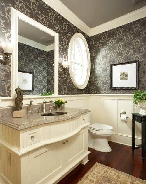 Wallpaper With Wainscoting Guest Bath Remodel Project