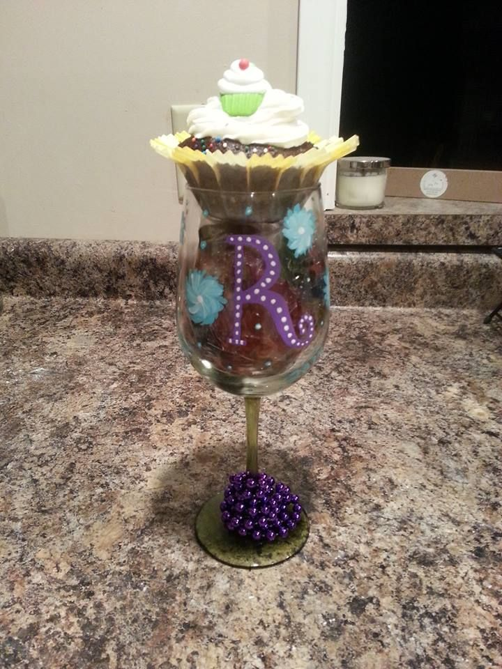 Decorate wine glass, add gummy bears that have soaked in Vodka ...