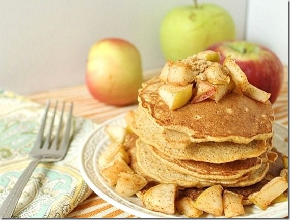 sweet, apple crisp like filling and topping makes these pancakes ...