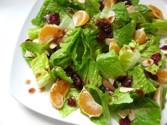 mandarin cranberry almond salad with raspberry or strawberry ...