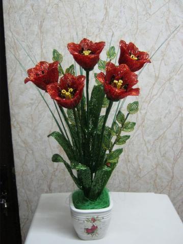 бонсай цветущий из бисера