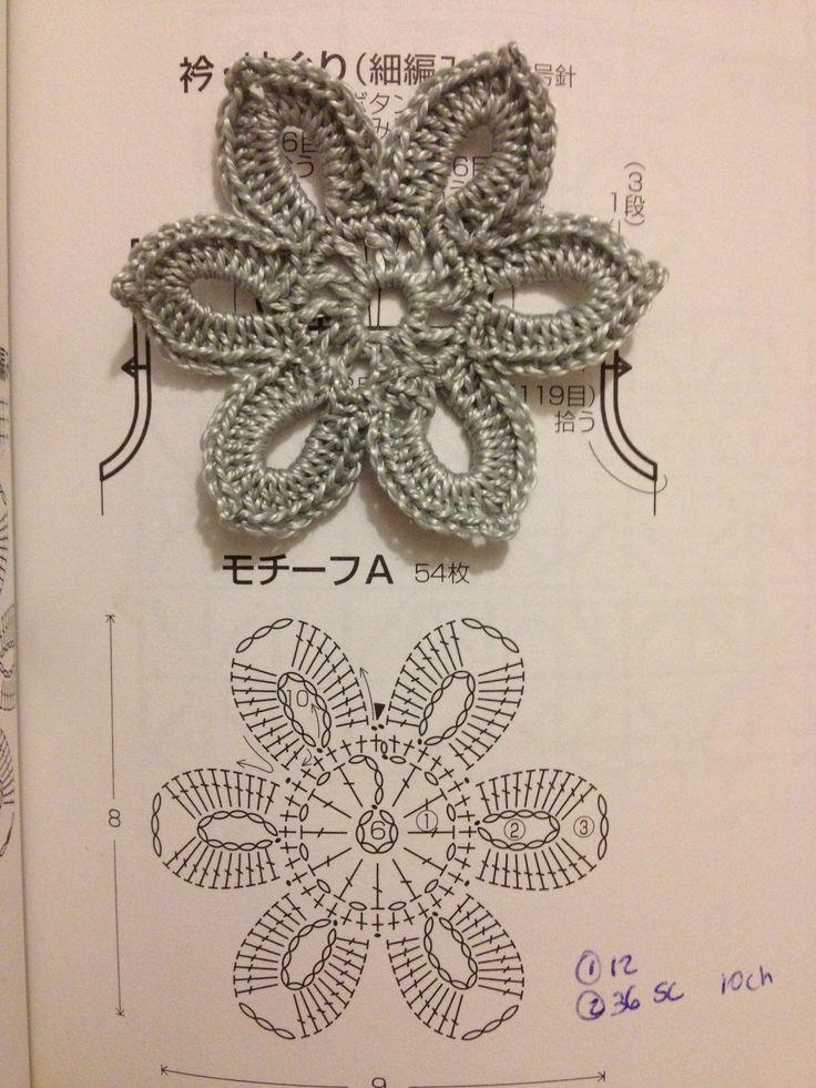 Crochet Simple Flower Diagram : Crochet flower diagram :) fiori uncinetto Pinterest