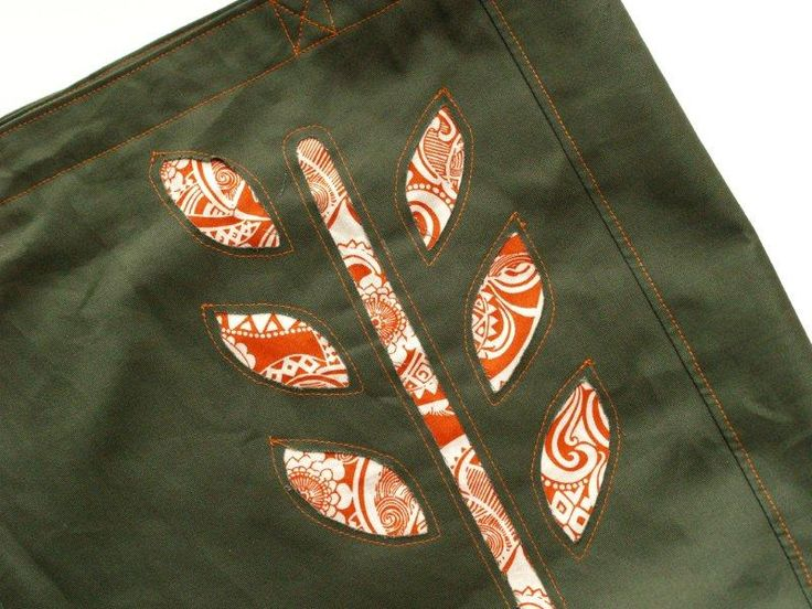 Reverse Applique Paisley Leaves Book Tote -