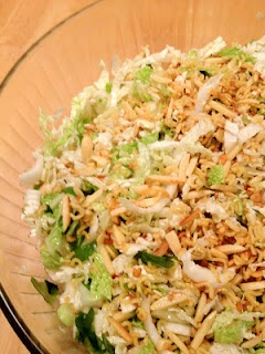 Chinese Salad with Nappa Cabbage, sauteed noodles & almonds and a soy ...