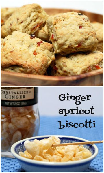 Ginger apricot biscotti in a nontraditional shape.