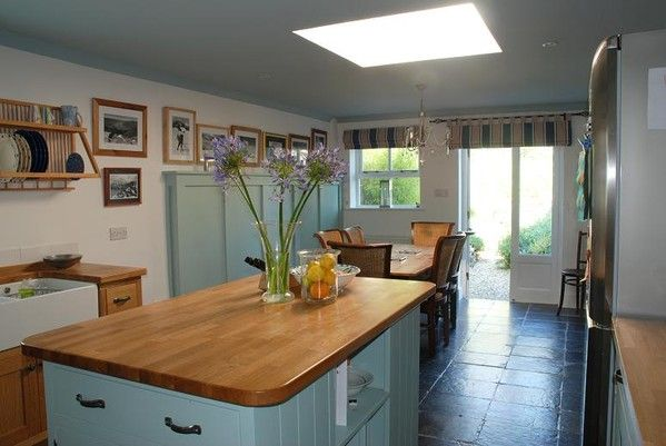 farrow and ball dix blue family room dinette kitchen