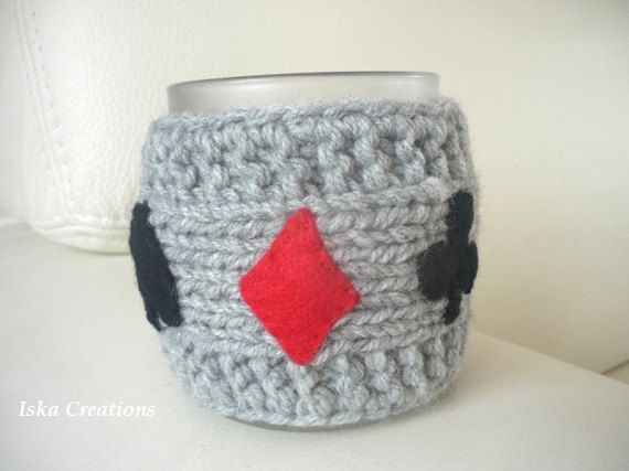 Mug Cozy ,grey color with bridge game symbols by IskaCreations, $12.00