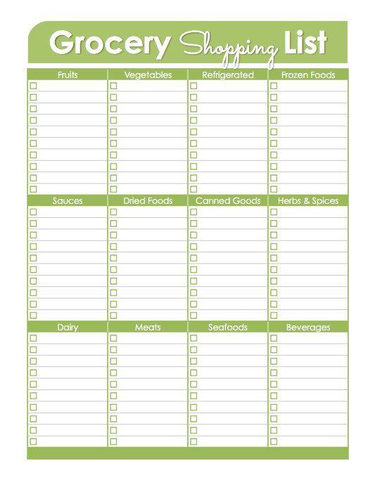 Grocery Shopping List - Printable Document - Household Binder ...
