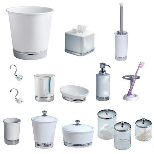 York chrome wastebasket by interdesign for Bathroom wastebasket sets