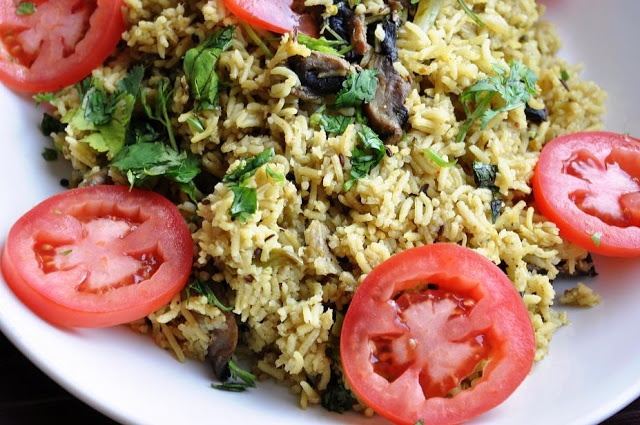 Mushroom Matar Pulao' - Mushroom and Pea Rice Pilaf