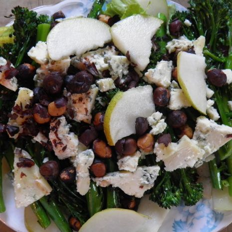 ... Tenderstem broccoli, Stilton, pear and savoury roasted hazelnut salad