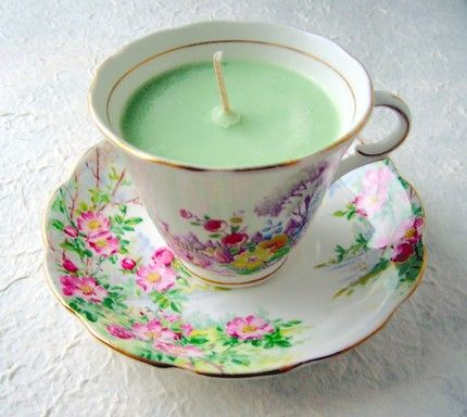 Re-purpose those vintage tea cups and make tea cup candles!