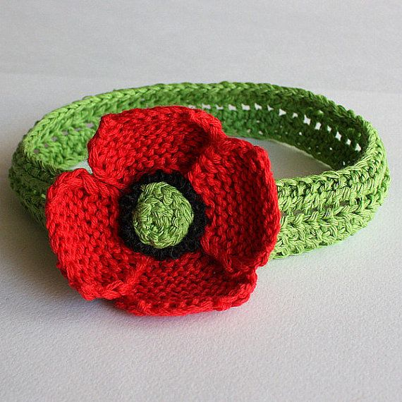 Knitting Pattern Baby Headband Flower : INSTANT DOWNLOAD - Knitting Pattern (pdf file) Headband Poppy