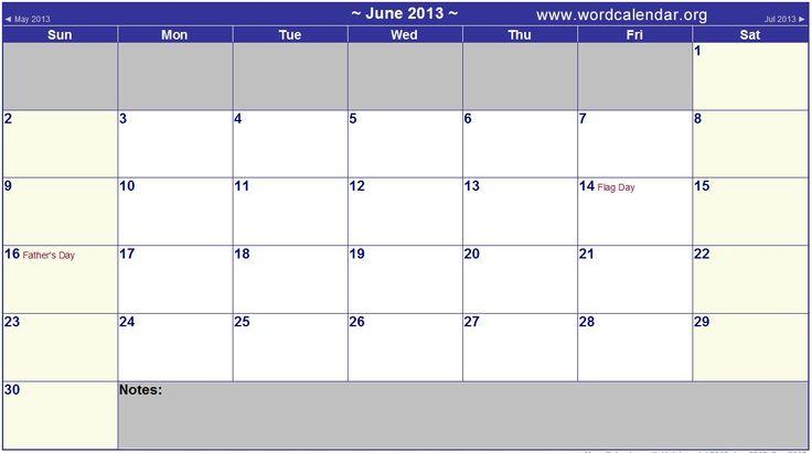 Monthly Calendar 2013 Word | Calendar | Pinterest