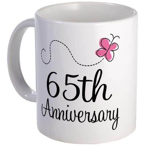 65th Wedding Anniversary Gift For Parents : Pretty pink butterfly 65th Anniversary gift mug. #anniversarygifts ...