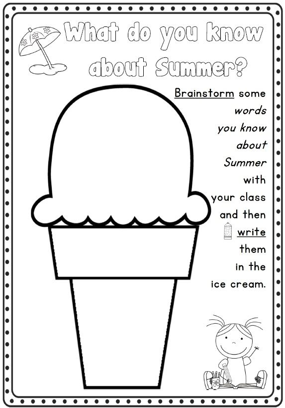 Printables about features of summer: weather, words, time of year ...