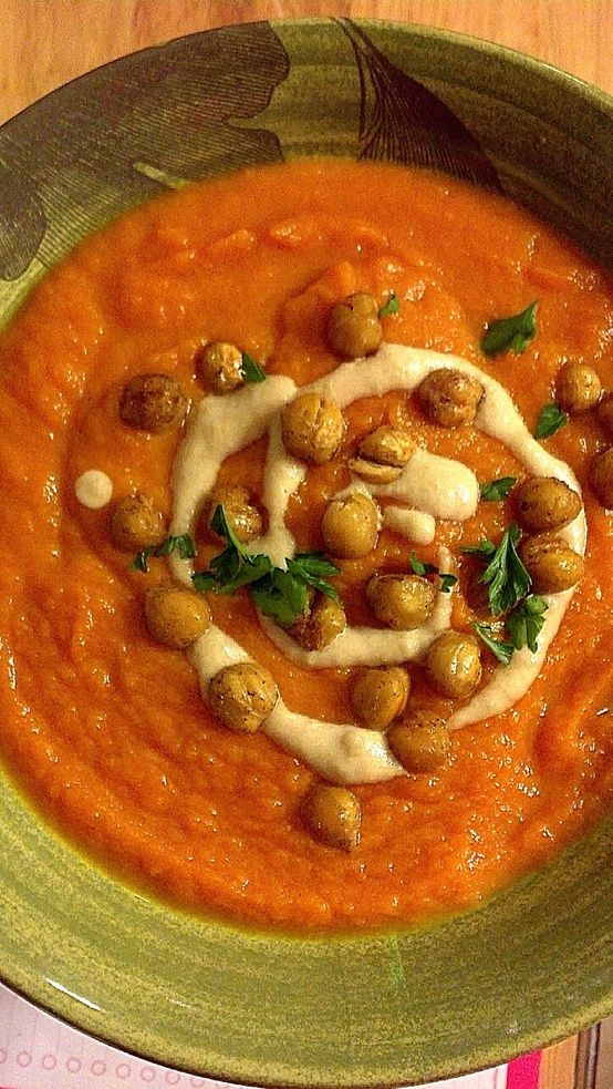 Carrot Soup with Lemon, Tahini and Crisped Chickpeas