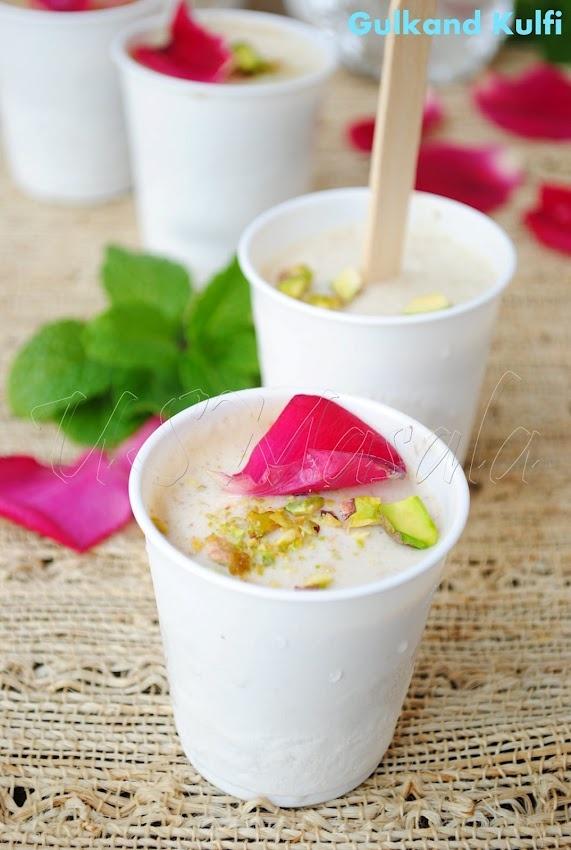 Rose petal Indian ice cream | yumm yumms | Pinterest