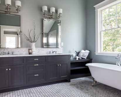 Paint hall bathroom cabinets dark grey for the home