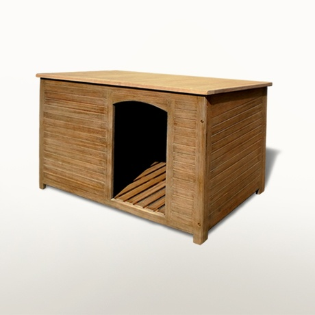 Dog House Is Featured With Raised Slatted Floor Slant Roof And Off
