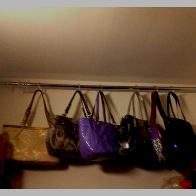 Using metal shower curtain rod and plastic hooks to hang purses!