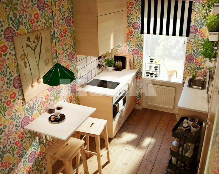Chambre Japonaise Moderne : Small kitchen with Metod Haganas and hanna werning 1305 wallpaper